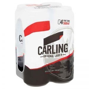 Carling Original Lager Beer, Pint Cans 4 x 568ml