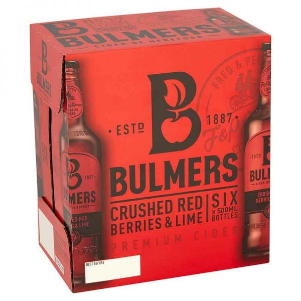 Bulmers Crushed Red Berries & Lime Cider Bottles 6 x 500ml