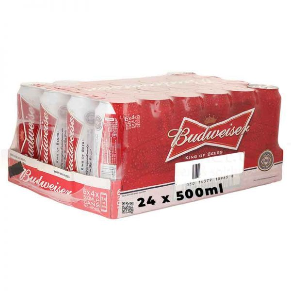Budweiser Lager Beer Cans 24 x 500ml
